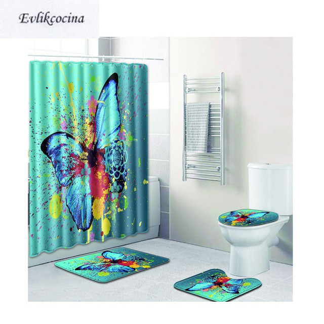 Elegant Free Shipping 4pcs Big Butterfly Banyo Paspas Bathroom Carpet Toilet Bath  Mat Set Non Slip Tapis Salle De Bain Alfombra Bano
