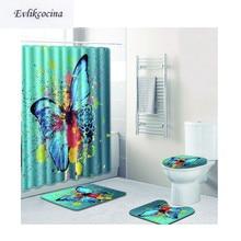 Livraison gratuite 4 pièces grand papillon Banyo Paspas Salle De Bain Tapis toilette Bain Tapis ensemble antidérapant Tapis Salle De Bain Alfombra Bano
