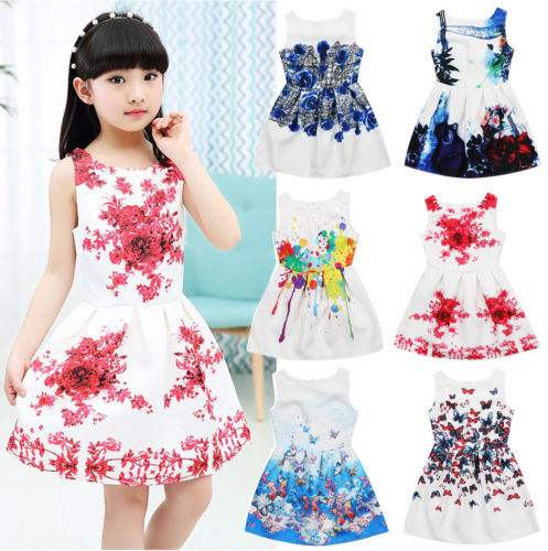 afbb3cc25db adorable toddler Kids Girls Sleeveless Dresses Princess Floral print Summer  Party bridesmaids Sundress Clothes Dress for girl -in Dresses from Mother    Kids ...