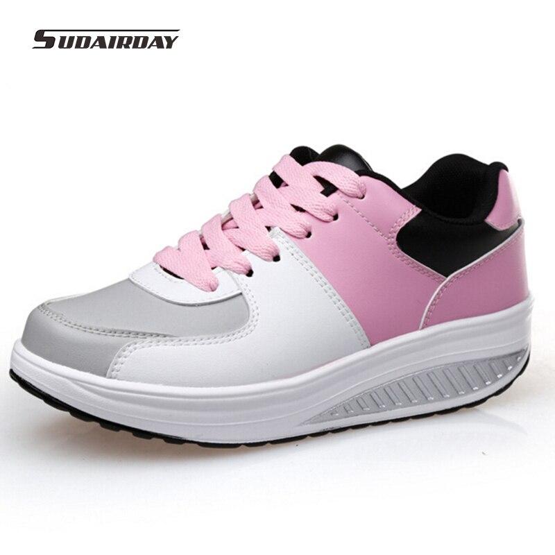 2016 font b Women b font Spring Autumn PU Flat Platform Casual Shoes Womens Swing Walking