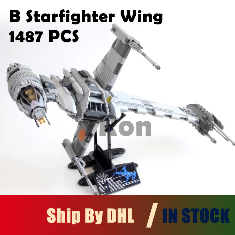 Educational Building Blocks 05045 Star 1487pcs War Series B Starfighter wing Brick Toys hobbies Compatible with lego 10227 model lepin 05040 y attack starfighter wing building block assembled brick star series war toys compatible with 10134 educational gift