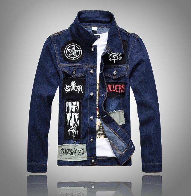Veste Manches À Longues Haute Trous Dark 2017 En Jean Manteaux Hommes Denim Nouveau Vestes Qualité Blue nq8Sv