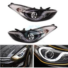 Cyber Monday 1Pair Front  Headlights Halo LED Projector DRL For Hyundai  Elantra 2011-2013