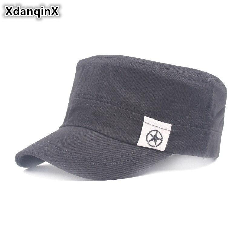 XdanqinX Men's Cap Fashion Cotton Army Military Hats NEW Male Bone Brand Visor Hat Adjustable Size Snapback Flat Caps For Men