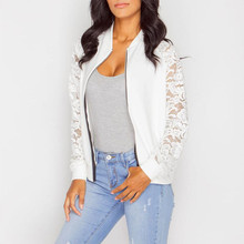 Lace Patchwork Women Jacket Casual Solid Floral Long SleeveJacket Coat Elegant Womens Zipper