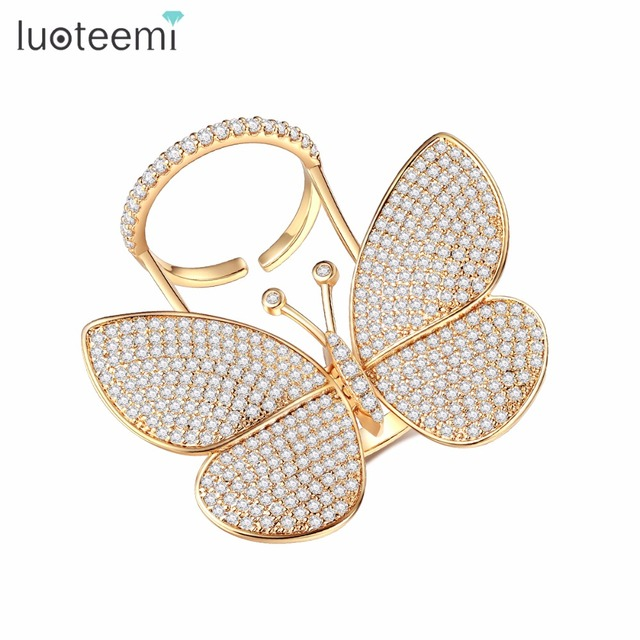 LUOTEEMI Danced  Butterfly Rings for Women Elegant Cubic Zirconia Wedding Engagement Ring Fashion Jewelry Anel Feminino