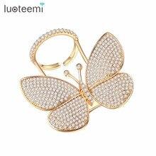 LUOTEEMI Danced Butterfly Rings for Women Elegant Cubic Zirconia Wedding Engagement Ring Fashion Jewelry Anel Feminino