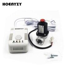 """Новое поступление умный детектор утечки газа с электромагнитным запорным клапаном трубопровода 1/"""" 3/4"""" для домашней пожарной сигнализации датчик"""