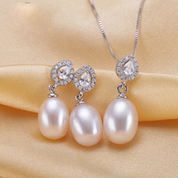 2016 New Fashion 100 Natural Freshwater Pearl Jewelry Set Earrings And Pendant Party Pearl Jewelry Sets