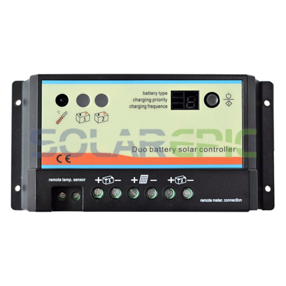 20A PWM Duo Battery Solar Panel Charge Controller Regulator 12V/24VDC With Remote Meter MT1 Control Solar Charger 20a 12v 24v ep epipdb com dual duo two battery solar charge controller regulators with mt 1 meter
