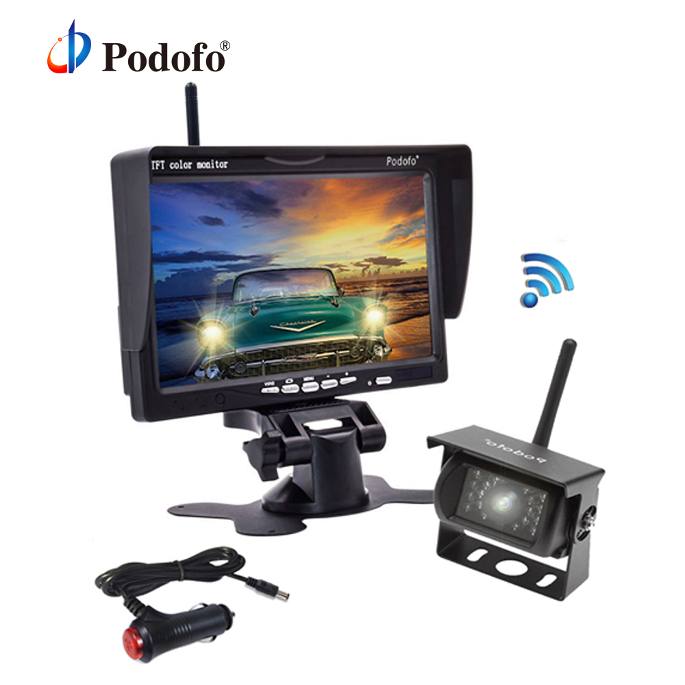 Podofo Wireless Car Rear View Camera Backup Reverse Reversing Cameras for Trucks Bus Caravan RV Trailer Vehicle System byncg wireless car reverse reversing dual backup rear view camera for trucks bus excavator caravan rv trailer with 7 monitor