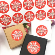 100Pcs/Lot Round White Snowflake Stickers DIY Merry Christmas Gift Packing Labels Gift Box Bags Paper New Year Stickers(China)