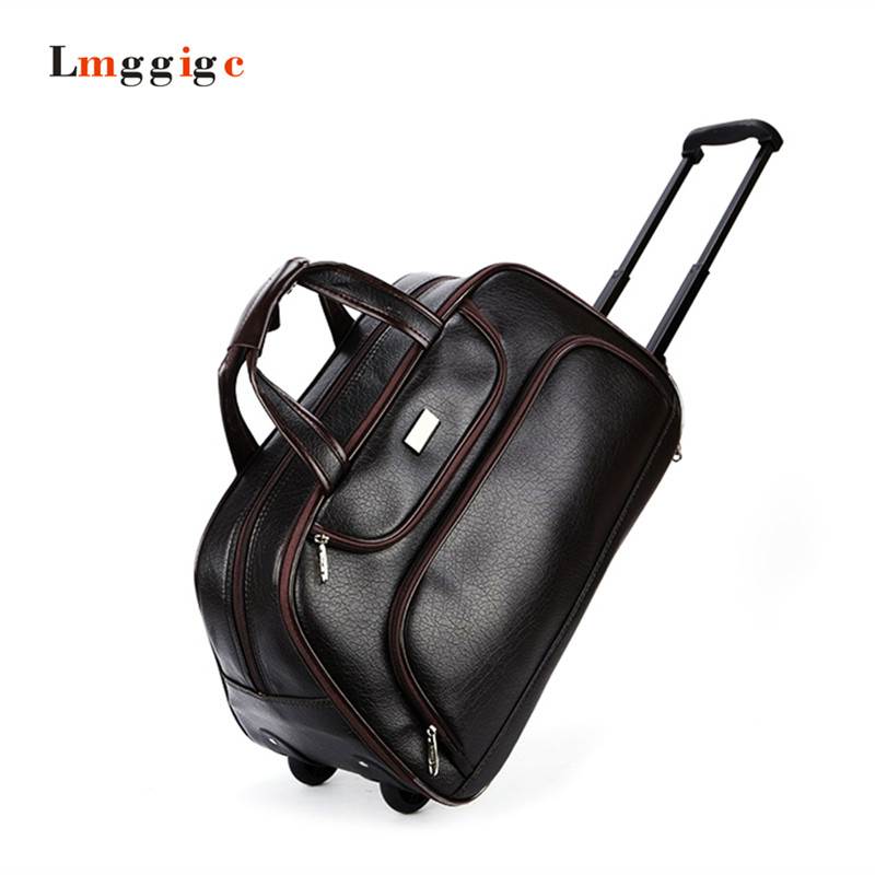 22 Portable font b Carry Ons b font folding boarding luggage PU leather large capacity Suitcase