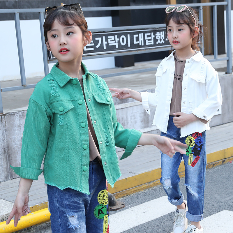 kids clothes Girls denim suit 2019 autumn new girls print sports fashion two-piece hole children sets