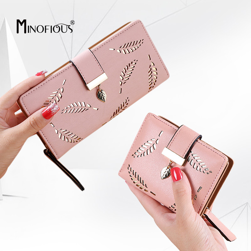 MINOFIOUS Women Wallet Hollow Leaves Purse Fashion Womens Phone Wallets Female Pouch Long Purse Small Card Holder Coin Wallet