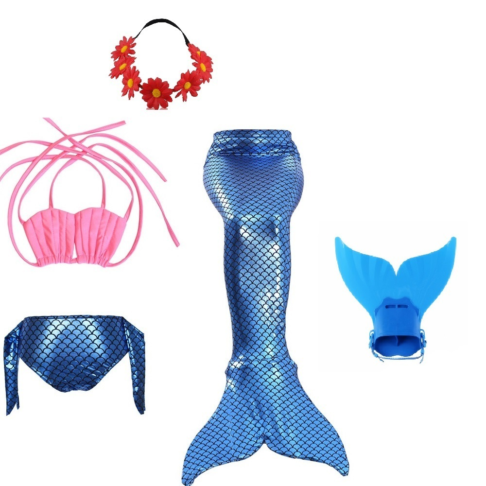 Mother & Kids Lower Price with Little Mermaid Tail Costumes For Swimming Children Party Bathing Suit Swimmable Tails With Monofin Girls Baby Swimsuit Girls Kid
