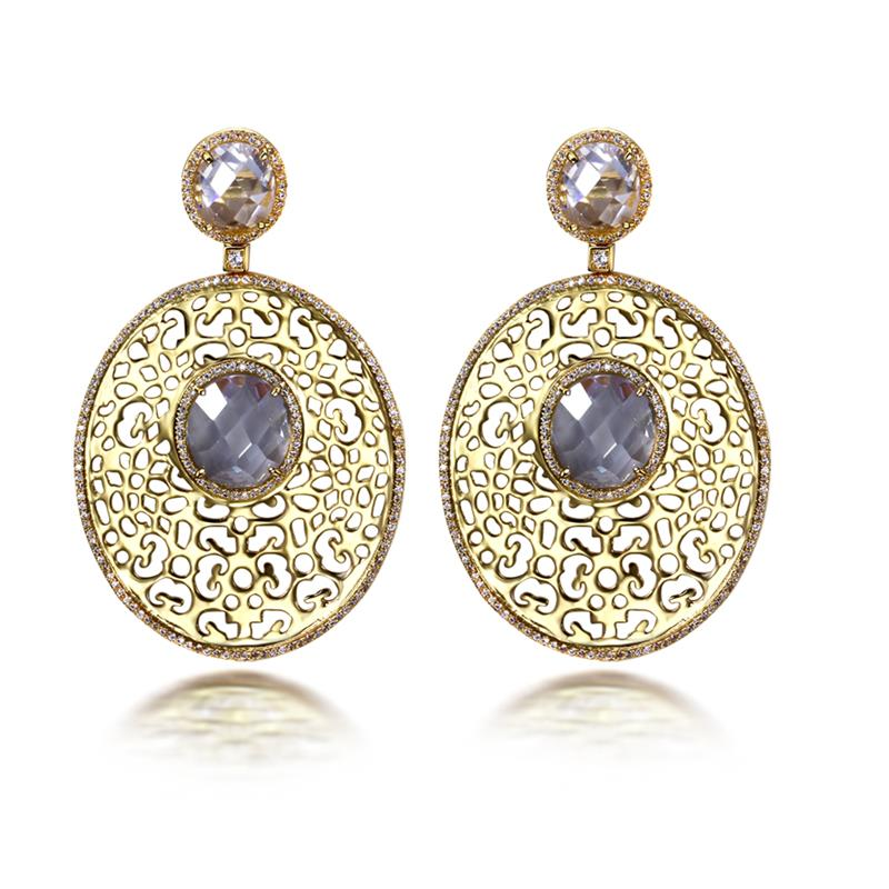 Ethnic Style Cubic Zirconia Long Oval Design Drop Earrings Gold Color with 5 Color AAA CZ Women Big Earring Fashion Jewelry woman white gold color round earring pave aaa cubic zirconia crystal fashion jewelry luxury circle hoop earrings for women