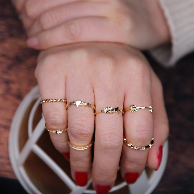 Idealway Gold Color Geometric Midi Rings For Women Knuckle Rings