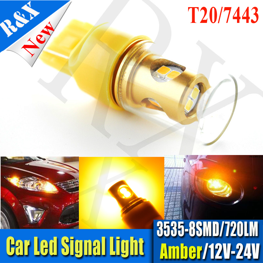Pair High Quality T20 7443 7440 High Power 3535 8SMD AMBER LED Car Auto Reverse Brake Tail Turn Light Lamp Bulb DC12-24V