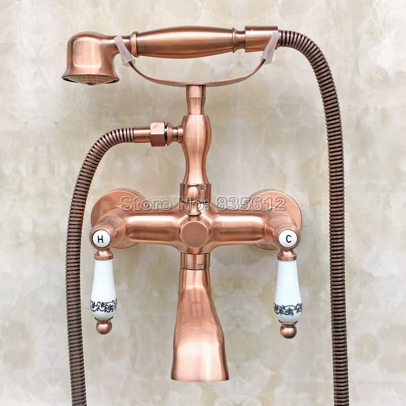 Antique Red Copper Handheld Shower Head Bath Tub Mixer Tap Wall Mounted Bathroom Dual Holder Dual Control Faucet Wtf804 gappo classic chrome bathroom shower faucet bath faucet mixer tap with hand shower head set wall mounted g3260