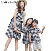 Mom Kids Casual Cotton Plaid Clothes Sets Family Look 2017 Summer Mother Daughter Dresses Son Outfits