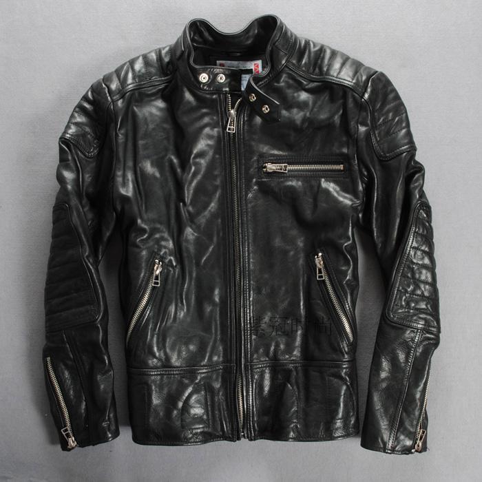 100%cowhide genuine leather jacket men punk style soft motorcycle jacket zipper leather clothing free shipping