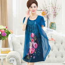 2019 Summer New Women's Dress Loose Large Size Printed Chiffon Dress Temperament Retro National Wind Chiffon Dress Vestido QQ246(China)