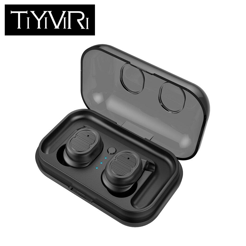 מגע בקרת מיני אלחוטי אוזניות סטריאו אוזניות עמיד למים Bluetooth דיבורית 5.0 אוזניות עם טעינת תיבת עבור iPhone