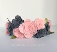 Venta caliente al por mayor nueva llegada de la muchacha de la tela azul rosa flor diadema diadema accesorios para el cabello para los niños regalo de la ducha