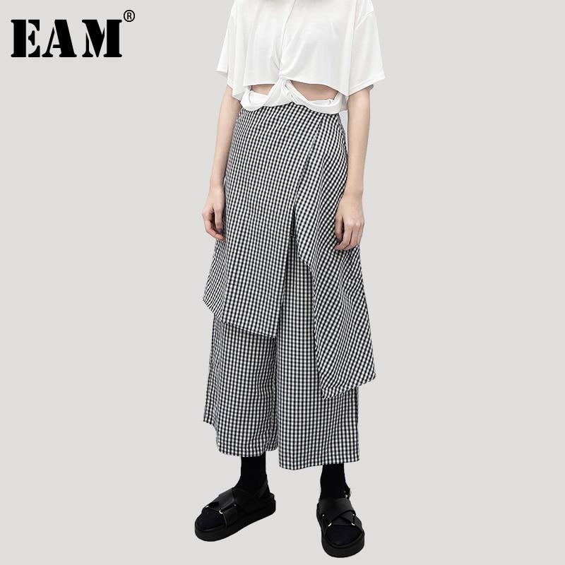 [EAM] 2019 New Spring Summer High Elastic Waist Black Irregular Split Joinw Loose   Wide     Leg     Pants   Women Trousers Fashion JU046