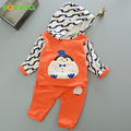 New 2016 Casual Autumn Baby Boys and Girls Clothing set Penguins printing T-shirt+pants Cotton Kids set For children clothing