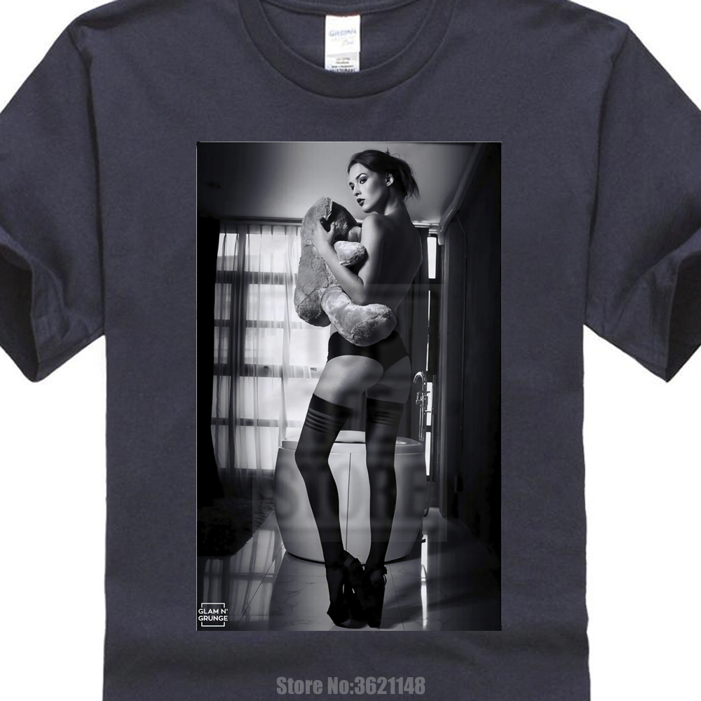 Sexy Girl Kate Moss Teddy Nude Nackt Porn Porno Hot Simple Short-Sleeved Cotton T-Shirt 0427013