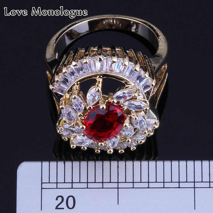 Flor de lujo rojo imitación granate Zirconia cúbica piedras preciosas simuladas oro amarillo Color anillo para mujer joyería H0116
