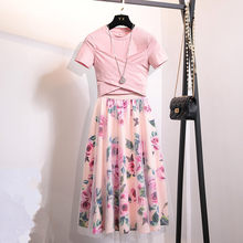 S-XL Summer Women 2 Piece Set 2019 Fashion Pink Cotton Bowknot Short T Shirt + Mesh Floral Print Big Swing Long Skirt Suits(China)
