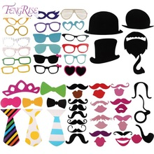 FENGRISE Fun 58 pcs Photo Booth Happy Birthday Prop DIY Mr Mrs Glasses Mask Party Accessories Photography Kid Wedding Decoration