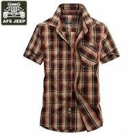 AFS JEEP Brand Summer Shirt Men Casual Shirts Soft Cotton Plaid Camisa Masculina Plaid Men S