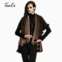 Модное осенне-зимнее пальто цвета хаки с кроличьим мехом Женская Цветочная вязанная кофта кардиган плюс размер шерстяное пончо кардиган