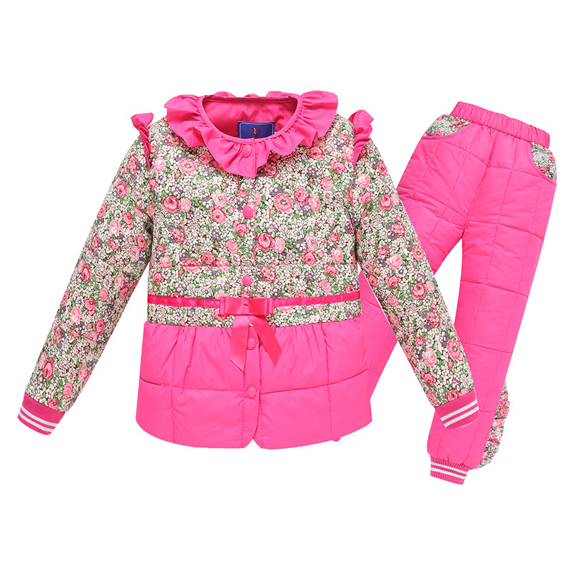Kids Sets Winter Down Parkas Children Kids Sets Warm Thick Cotton Outwear Windbreaker Jackets Coat Tracksuits For Boys Girls Hot 2017 winter women jacket new fashion thick warm medium long down cotton coat long sleeve slim big yards female parkas ladies269