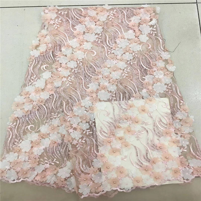 Latest african tull lace fabrics high quality 2018 french lace fabric with beads and flowers stickerei for lace dressLatest african tull lace fabrics high quality 2018 french lace fabric with beads and flowers stickerei for lace dress