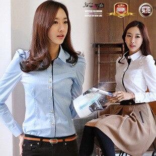 Chiffon Blouse Cotton Tops Hot Regular Full 2015 New Korean Version Spell Color Shirt For Ms. Slim Female Models Long-sleeved
