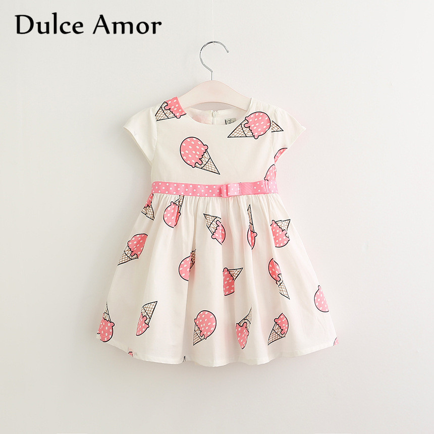 HTB1R CVSXXXXXX6XpXXq6xXFXXXN - Dulce Amor Summer Cute Girls Dress Kids Baby Girls Clothes Short Sleeve Ice Cream Print Princess Dress Kids Dress For Girl