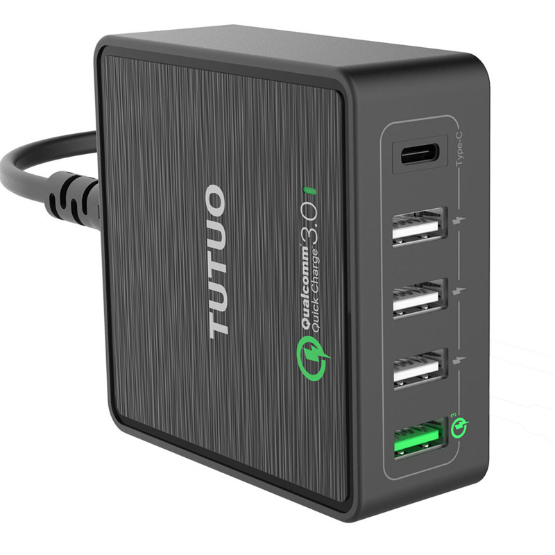 Un plus 5 plus QC 3.0 chargeur socket puissance adaptateur multi usb type C dock téléphone prise de charge iphone fourchette charge rapide 3.0 rapide