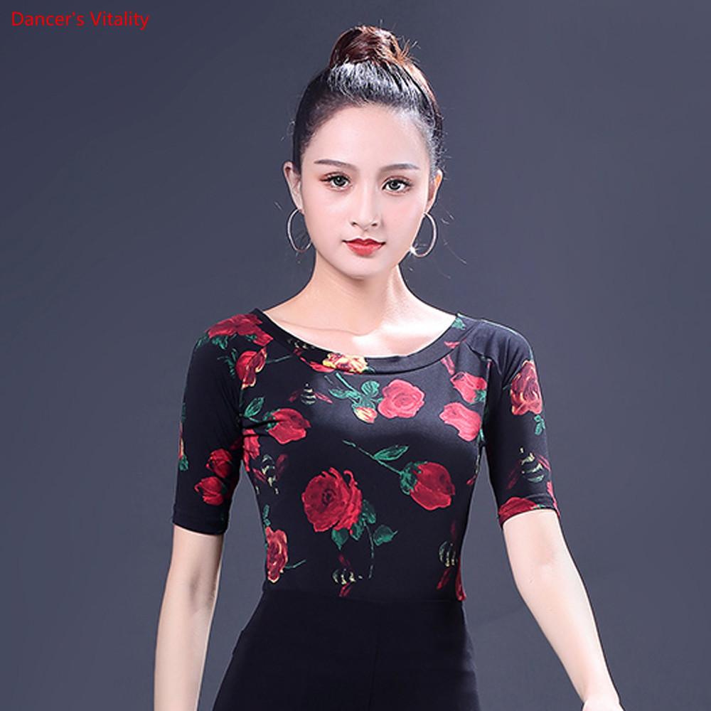 Image 4 - Fashion Print Latin Dance Tops New Adult Female Half Sleeved Practice Clothes Women Ballroom Dance Stage Performance CostumesLatin   -