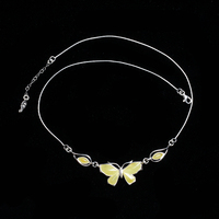 JIUDUO jewelry 925 sterling silver inlaid natural butter yellow beeswax old amber necklace pendant antique European back