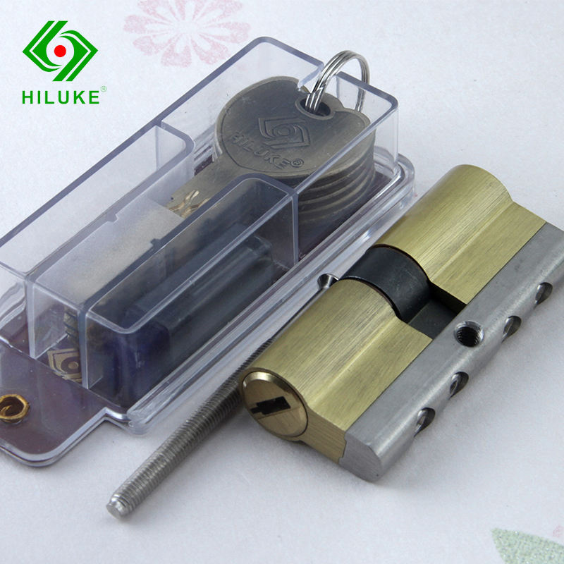 HILUKE 70mm brass alloy lock core idling security door lock double open cylinder six keys hihg quality hiluke 70mm brass lock cylinder 5pics brass key with two line and button europe standard safe door lock core single open