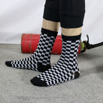 Korea Funky Harajuku Trend Women Checkerboard Socks Geometric Checkered Socks Men Hip Hop Cotton Unisex Streetwear Novelty Socks 9