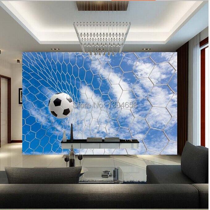 Free shipping custom modern 3D large mural sports football TV ...