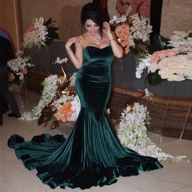 Green Velour Mermaid Bridesmaid Dresses Dubai Abiye Robe De Soiree Slim  Fishtail Women Gowns For Party 2017 Cheap Formal Dress d0f2bfc446aa