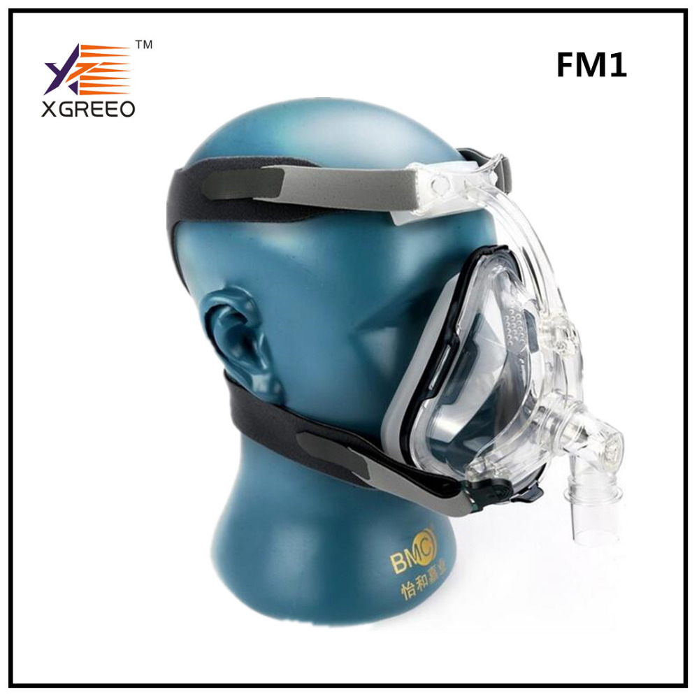 BMC XGREEO FM1 Full Face Mask CPAP Auto CPAP BiPAP Mask With Free Headgear White S M L for Sleep Apnea OSAHS OSAS Snoring People orthodontic reverse pull fact mask dental headgear orthodontic face mask adjustable face mask