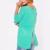 Europa EE.UU. 2017 nuevo de las mujeres de punto sexy azul de algodón Camiseta larga cuello de la manga O de metal con cremallera jerseys camisa floja ocasional buena Tops